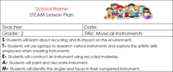 2nd Grade STEAM Lesson Plan Recycling Music Instruments Self-Expression Geometry