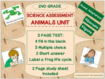 2nd Grade Science Assessment on Animals Unit