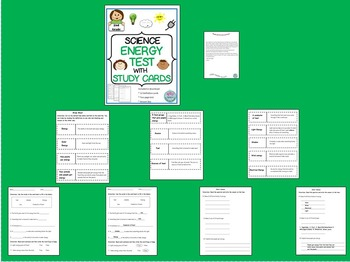 2nd Grade Science Assessment on Energy with Student Study Cards