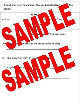 2nd Grade Science Assessment on Matter