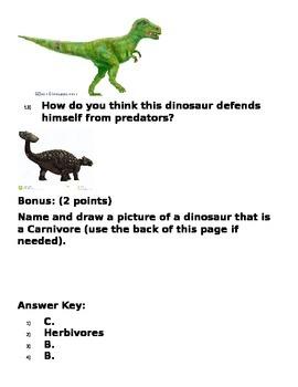 2nd Grade Science - Dinosaur Test