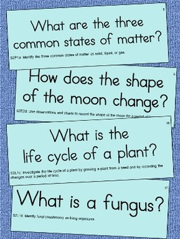 2nd Grade Science Essential Question Cards for Display - Small Size
