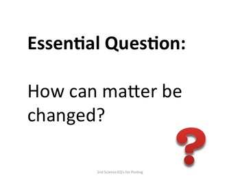 2nd Grade Science Essential Questions for Posting