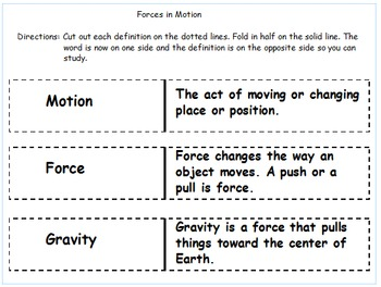 """2nd Grade Science """"Forces and Motion"""" Test/Includes Study Cards for Students"""