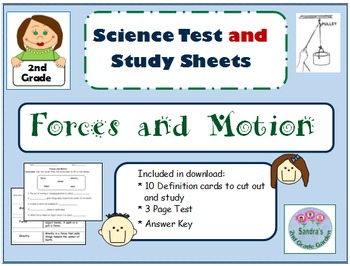 "2nd Grade Science ""Forces and Motion"" Test/Includes Study"