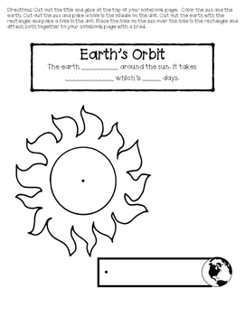 2nd Grade Science Interactive Notebook: Earth's Movement