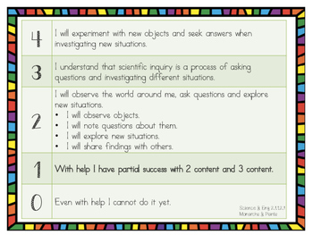 2nd Grade Science Standards Posters & Learning Progression/Scales