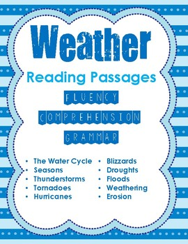 2nd Grade Science Weather Reading Passages for Fluency, Comprehension, & Grammar