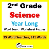 2nd Grade Science, Year Long, Word Search Puzzle Worksheets, No Prep Sub Plan