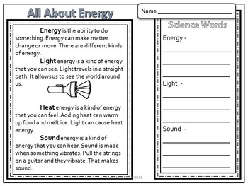 2nd Grade Science and Literacy: All About Energy (TEKS & NGSS)