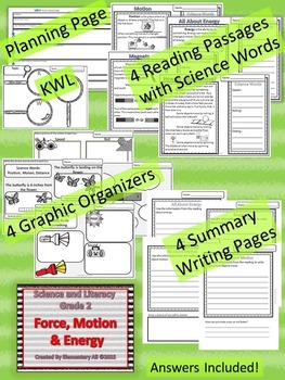2nd Grade Science and Literacy: Force, Motion, and Energy (TEKS & NGSS)