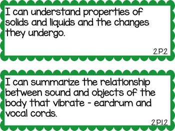 2nd Grade Science and Social Studies I Can Statements
