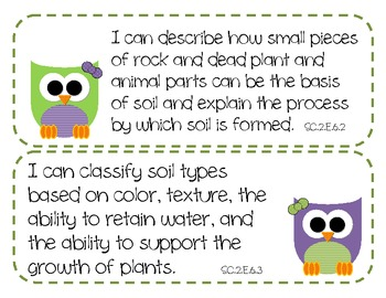 "2nd Grade Science and Social Studies ""I Can"" Statements for FLORIDA - OWL THEME"
