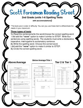 Scott Foresman Reading Street 2nd gr (Unit 1-6) Spelling Tests w/ Accommodations
