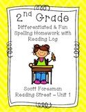 2nd Grade Scott Foresman Reading Street Homework- Unit 1- Spelling & Reading Log