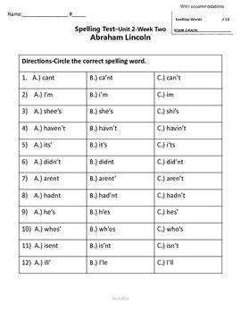 Scott Foresman Reading Street 2nd Grade U-2  Spelling Test w/ accommodations