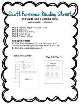 Scott Foresman Reading Street 2nd Grade U-3 Tier 2 & 3 Spelling Tests