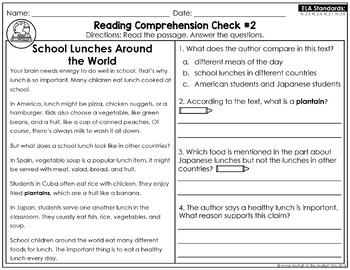 Reading Comprehension Passages and Questions: September (2nd Grade)