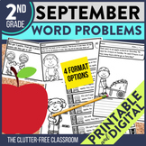 2nd Grade September Word Problems printable and digital ma