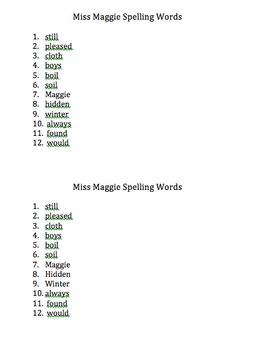 2nd Grade Series 2 Book 1 Spelling Words