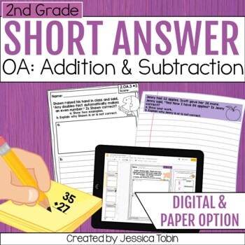 2nd Grade Math Short Answer- Operations and Algebraic Thinking OA