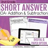 2nd Grade Math Short Answer Word Problems- Operations and Algebraic Thinking OA