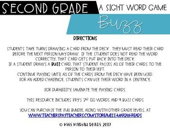 2nd Grade Sight Word BUZZ