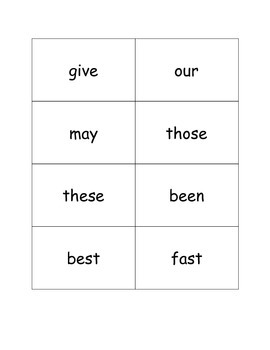 2nd Grade Sight Word Flash Cards