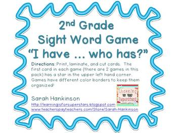 2nd Grade Sight Word I Have Who Has Game Packet By Sarah
