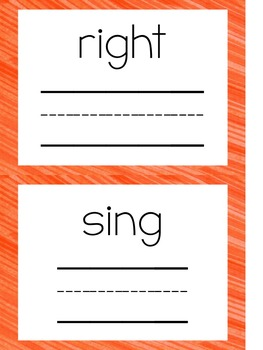 2nd Grade Sight Word Writing Cards