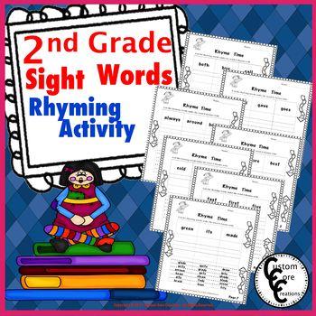 2nd Grade Sight Words Rhyming Activity