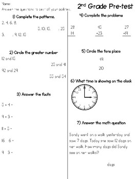 2nd Grade Simple Pre-test