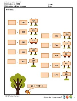2nd Grade Singapore Mastery Method Worksheet - Subtraction to 1000