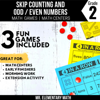 2nd Grade Skip Counting and Odd Even Numbers Games and Centers