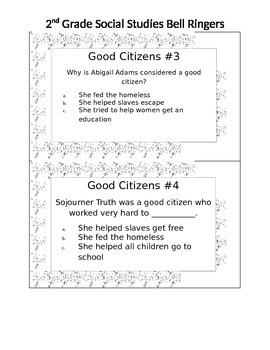 2nd Grade Social Studies Bell Ringers