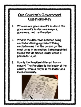 Social Studies Buddy Reading: Government