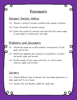 2nd Grade Social Studies Checklist