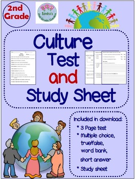 2nd Grade Social Studies Culture Test and Study Sheet