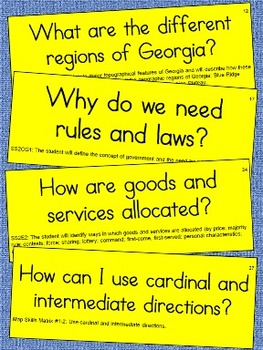2nd Grade Social Studies Essential Question Cards for Display - Small Size