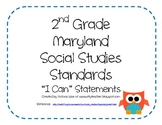 "2nd Grade Social Studies ""I Can"" Statements for MARYLAND - OWL THEME"