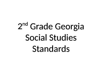 2nd Grade Social Studies Standards (Georgia)
