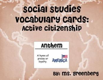 2nd Grade Social Studies Vocabulary Cards: Active Citizenship