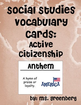 2nd Grade Social Studies Vocabulary Cards: Active Citizenship (Large)