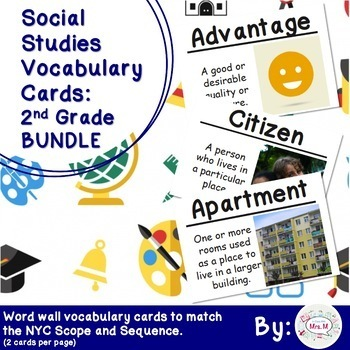 2nd Grade Social Studies Vocabulary Cards: All Year BUNDLE (Large)
