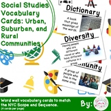 2nd Grade Social Studies Vocab Cards: Urban, Suburban, and