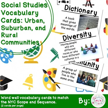 2nd Grade Social Studies Vocabulary Cards: Communities (Large)