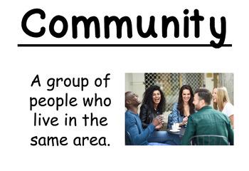 2nd Grade Social Studies Vocab Cards: Urban, Suburban, and Rural Communities (L)