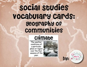 2nd Grade Social Studies Vocabulary Cards: Geography of Communities