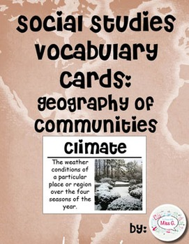 2nd Grade Social Studies Vocabulary Cards: Geography of Communities (Large)