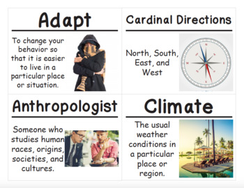 3rd Grade Social Studies Vocabulary Cards: Intro World Geography Communities